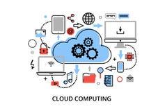 La línea fina plana moderna ejemplo del vector del diseño, concepto de tecnologías de ordenadores de la nube, protege las redes d stock de ilustración