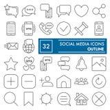 La línea fina social sistema del icono, símbolos colección, bosquejos del vector, ejemplos del logotipo, red de la comunicación f ilustración del vector