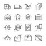La línea icono de la entrega y de la logística fijó 3 libre illustration