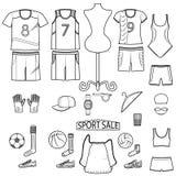 La línea icono del ejemplo del vector fijó - forme el desgaste y el equipo del deporte de la venta en el fondo blanco ilustración del vector