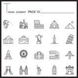 La línea icono del elemento del viaje fijó 10 La señal enrarece iconos Mono paquete GR libre illustration
