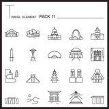 La línea icono del elemento del viaje fijó 11 La señal enrarece iconos Mono paquete GR stock de ilustración
