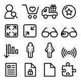 La línea iconos de la navegación del menú Web fijó - las compras, documento Imágenes de archivo libres de regalías