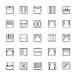 La línea iconos del vector con cubre Cortinas, persianas y sombra de ventana stock de ilustración