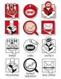 La línea iconos fijó con del márketing y la distribución ilustración del vector