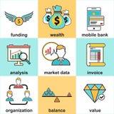 La línea iconos fijó con los elementos planos del diseño de la inversión financiera Fotos de archivo