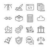 La línea independiente icono de los trabajos fijó 1 Incluyó los iconos como diseño gráfico, codificación, logística, los traducen ilustración del vector