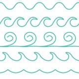 La línea ondas de la turquesa del vector fijó en el fondo blanco stock de ilustración
