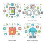 La línea plana ahorros del dinero, compras de Internet, pagos móviles, conceptos del proceso de negocio fijó ejemplos del vector libre illustration
