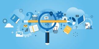 La línea plana bandera del sitio web del diseño de encuentra la educación correcta stock de ilustración