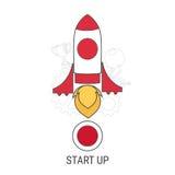 La línea plana concepto de diseño para empieza para arriba Cohete plano El asunto arranca para arriba Imagen de archivo