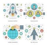 La línea plana empieza para arriba, Team Building, economía global, ejemplos fijados los conceptos del vector del éxito empresari Fotos de archivo libres de regalías