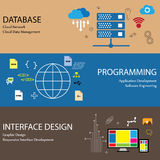 La línea plana iconos del diseño de conceptos le gusta la red de la nube de la base de datos Fotografía de archivo
