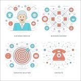 La línea plana servicios de atención al cliente, ayuda, solución de la blanco, conceptos del éxito empresarial fijó ejemplos del  Imagen de archivo