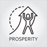 La línea prosperidad del icono del vector como hombre levanta la flecha ilustración del vector