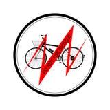 La línea roja de la bicicleta negra con la inscripción NO UTILIZA PARA MONTAR EN BICICLETA todos en el ejemplo redondo negro del  stock de ilustración