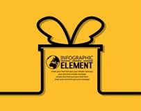 La línea simple plantilla de Infographic con pasos parte la caja de regalo del elemento de las opciones Imágenes de archivo libres de regalías
