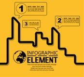 La línea simple plantilla de Infographic del estilo con pasos parte la ciudad de las opciones stock de ilustración