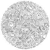 La línea sistema dibujado mano del vector del arte de garabato de la historieta de la escuela se opone Foto de archivo