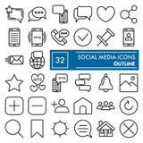 La línea social sistema del icono, símbolos colección, bosquejos del vector, ejemplos del logotipo, red de la comunicación firma  ilustración del vector