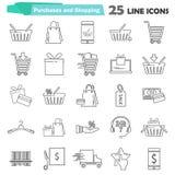 La línea universal simple que hacía compras iconos fijó para el diseño móvil del ADN del web Fotografía de archivo libre de regalías