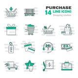 La línea universal simple que hacía compras iconos fijó para el diseño móvil del ADN del web Imagen de archivo
