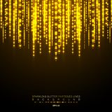 La línea vertical brillante de las luces del oro brilla festival del día de fiesta en fondo oscuro Modelo brillante de las luces  stock de ilustración