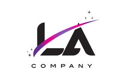 LA L A Black Letter Logo Design with Purple Magenta Swoosh Royalty Free Stock Photo