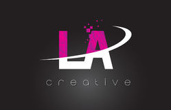 LA L A Creative Letters Design With White Pink Colors Stock Photos
