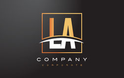 LA L A Golden Letter Logo Design with Gold Square and Swoosh. Stock Images