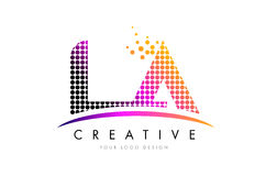 LA L A Letter Logo Design with Magenta Dots and Swoosh Royalty Free Stock Images
