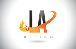 LA L A Letter Logo with Fire Flames Design and Orange Swoosh. Royalty Free Stock Photos