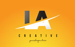 LA L A Letter Modern Logo Design with Yellow Background and Swoo Royalty Free Stock Photos