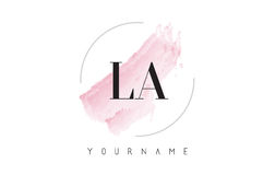 LA L A Watercolor Letter Logo Design with Circular Brush Pattern Royalty Free Stock Photos