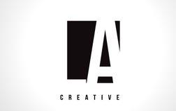 LA L A White Letter Logo Design with Black Square. Stock Photo