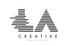 LA L A Zebra Letter Logo Design with Black and White Stripes Royalty Free Stock Image