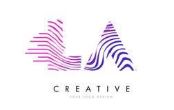 LA L A Zebra Lines Letter Logo Design with Magenta Colors Stock Photos