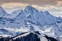 La La Ila di Piz in montagne delle dolomia si avvicina alla villa della La, Alta Badia, Italia Fotografia Stock