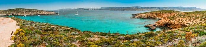 La laguna azul en la isla de Comino, Malta Gozo fotos de archivo libres de regalías