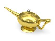 La lampada del Aladdin dorata ha disposto dalla diagonale Fotografia Stock Libera da Diritti