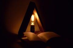 La lampada di eco di edison di notte con il filamento in lampadina di legno copre il libro per indicare Fotografia Stock Libera da Diritti