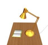 La lampada di scrittorio ed il copy-book Fotografia Stock