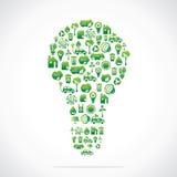 La lampadina è disegno con le icone della natura di eco Immagine Stock