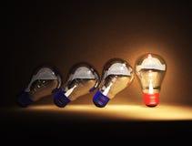 La lampadina è idee Immagini Stock Libere da Diritti