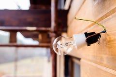 La lampadina appende sui cavi sulla parete di legno Immagine Stock Libera da Diritti