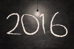 La lampadina della luce intensa illumina i numeri 2016 Immagine Stock