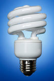 La lampadina di CFL, fronteggia illuminato Fotografie Stock Libere da Diritti