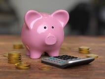 La lampadina e la Banca gearsPiggy conservano l'investimento dei soldi fotografia stock libera da diritti