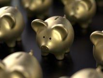 La lampadina e la Banca gearsPiggy conservano l'investimento dei soldi fotografie stock