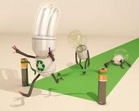 La lampadina economizzatrice d'energia vince la corsa Immagine Stock